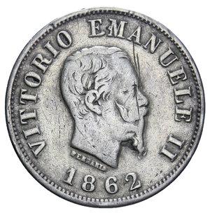 obverse: VITT. EMANUELE II 50 CENT. 1862 NAPOLI STEMMA R AG. 2,5 GR. qBB/BB