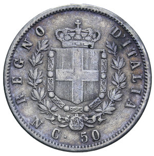 reverse: VITT. EMANUELE II 50 CENT. 1862 NAPOLI STEMMA R AG. 2,5 GR. qBB/BB