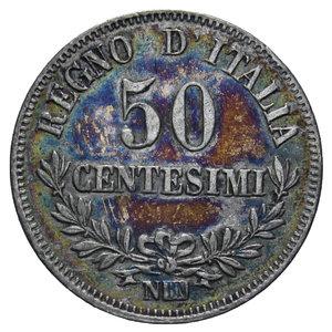 reverse: VITT. EMANUELE II 50 CENT. 1863 NAPOLI VALORE AG. 2,5 GR. BB