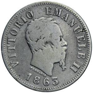 obverse: VITT. EMANUELE II 50 CENT. 1863 VALORE MILANO AG. 2,40 GR. MB/qBB