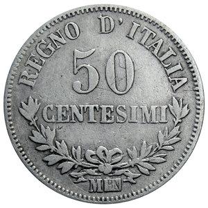 reverse: VITT. EMANUELE II 50 CENT. 1863 VALORE MILANO AG. 2,40 GR. MB/qBB