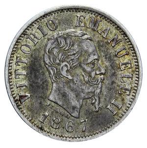 obverse: VITT. EMANUELE II 50 CENT. 1867 MILANO AG. 2,5 GR. BB