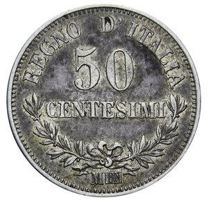 reverse: VITT. EMANUELE II 50 CENT. 1867 MILANO AG. 2,5 GR. BB
