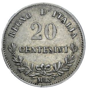 reverse: VITT. EMANUELE II 20 CENT. 1863 TORINO AG. 1 GR. BB+