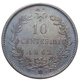reverse: VITT. EMANUELE II 10 CENT. 1862 MILANO 9,96 GR. qSPL/SPL