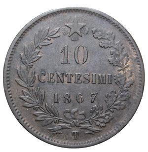 reverse: VITT. EMANUELE II 10 CENT. 1867 TORINO 9,98 GR.  BB-SPL