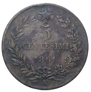 reverse: VITT. EMANUELE II 5 CENT. 1861 BOLOGNA RR 4,52 GR. MB-BB