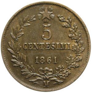 reverse: VITT. EMANUELE II 5 CENT. 1861 MILANO 4,94 GR. qSPL