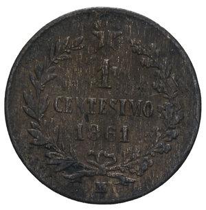 reverse: VITT. EMANUELE II 1 CENT. 1861 MILANO 1 GR. BB