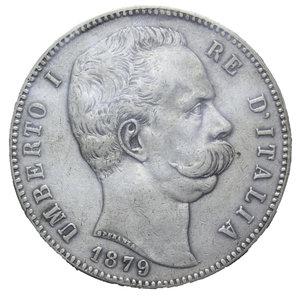 obverse: UMBERTO I 5 LIRE 1879 AG. 25 GR. BB+ SIGILLATA ZAMBONI