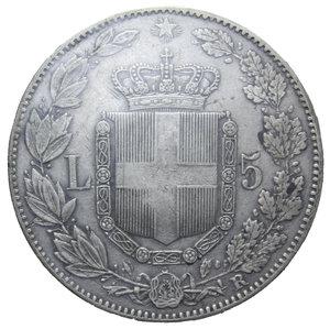 reverse: UMBERTO I 5 LIRE 1879 AG. 25 GR. BB+ SIGILLATA ZAMBONI