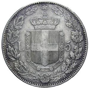reverse: UMBERTO I 5 LIRE 1879 AG. 25 GR. qBB