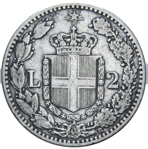 reverse: UMBERTO I 2 LIRE 1881 AG. 9,91 GR. BB