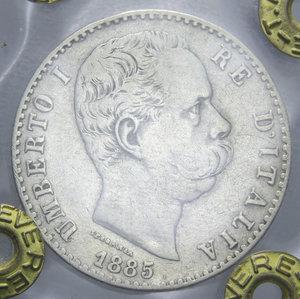 obverse: UMBERTO I 2 LIRE 1885 R AG. 10 GR. qBB SIGILLATA TEVERE