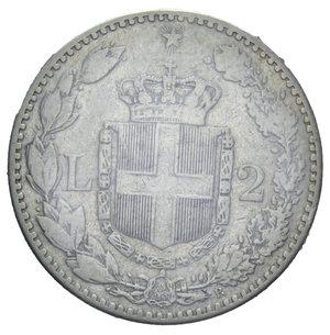 reverse: UMBERTO I 2 LIRE 1885 R AG. 10 GR. qBB SIGILLATA TEVERE