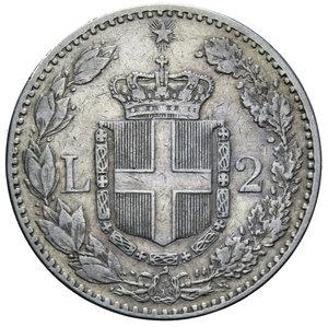 reverse: UMBERTO I 2 LIRE 1885 R AG. 10 GR.  BB