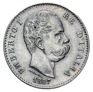 obverse: UMBERTO I 1 LIRA 1887 AG. 5 GR. qSPL