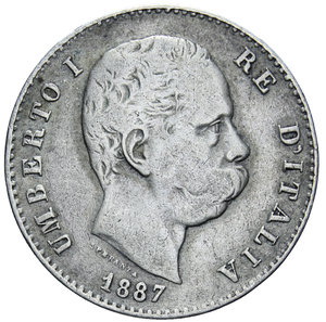obverse: UMBERTO I 1 LIRA 1887 AG. 4,92 GR. qBB/BB