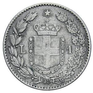 reverse: UMBERTO I 1 LIRA 1887 AG. 4,92 GR. qBB/BB