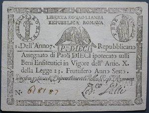 reverse: REPUBBLICA ROMANA 10 PAOLI AN.7 BB+