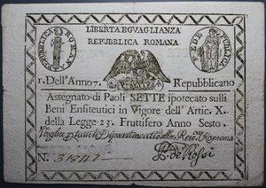 reverse: REPUBBLICA ROMANA 7 PAOLI AN.7 BB+