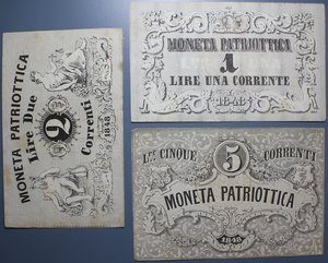reverse: GOVERNO PROVVISORIO DI VENEZIA 1- 2 - 5 LIRE 1848 BB+