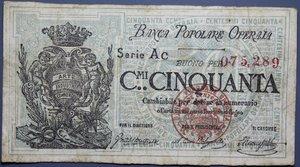 reverse: BANCA POPOLARE OPERAIA 50 CENT. 1872 qBB