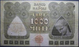 reverse: BANCO DI NAPOLI 1000 LIRE 30/1/1920 NC BB (FORI)