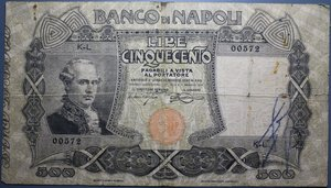 reverse: BANCO DI NAPOLI 500 LIRE 1/5/1919 NC MB-BB (RIPARATA)