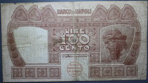 obverse: BANCO DI NAPOLI 100 LIRE 7/9/1918 NC BB (FORI)