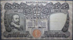 reverse: BANCO DI NAPOLI 100 LIRE 7/9/1918 NC BB (FORI)