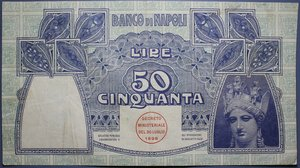 obverse: BANCO DI NAPOLI 50 LIRE 23/02/1911 NC BB-SPL