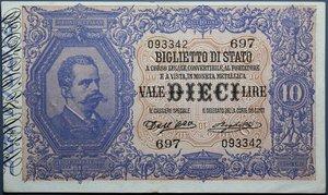 reverse: UMBERTO I 10 LIRE 25/10/1892 RR BB-SPL
