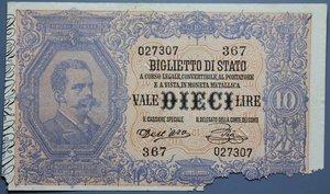 reverse: UMBERTO I 10 LIRE 6/8/1889 RRRR MB