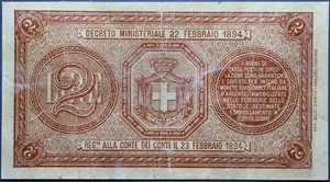 obverse: UMBERTO I 2 LIRE 21/9/1894 RRR qBB (RESTAURATA)