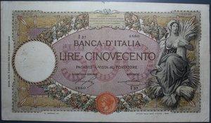 reverse: VITT. EMANUELE III 500 LIRE 6/6/1923 MIETITRICE DECRETO RR BB (FORI)