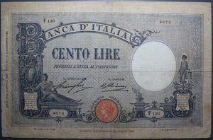 reverse: VITT. EMANUELE III 100 LIRE 12/4/1929 AZZURRINO FASCIO R MB-BB (FORI)