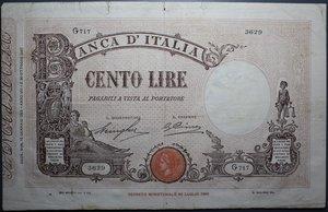 reverse: VITT. EMANUELE III 100 LIRE 15/1/1929 MATRICE FASCIO R BB (STRAPPETTI)
