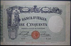 reverse: VITT. EMANUELE III 50 LIRE 22/4/1930 MATRICE FASCIO BB-SPL