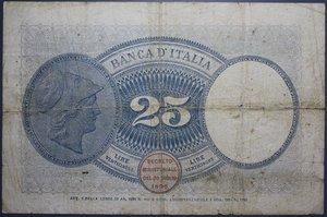 obverse: VITT. EMANUELE III 25 LIRE 20/9/1923 AQUILA LATINA RRR MB+ (FORI)