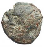 D/ Mondo Greco - Illyria. Re Ballaios.190-168 a.C.Ae. D/ Testadi Ballaiosverso sinistra. R/ Personaggio con lancia verso sinistra. Peso2,44 gr. Diametro15,4 x 16,1 mm.Patina verde.BB+.Molto bella per il tipo. R2.