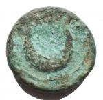 R/ Mondo Greco - Apulia Luceria. 211-200 a.C.Semuncia. D/ Testa di Diana verso destra. R/ LOVCERI Crescente. SNG COP 665. Peso 2,46 gr. Diametro 12,9 mm. qBB.Patina verde chiaro.R.