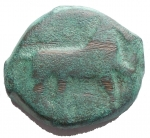 D/ Mondo Greco - Apulia Salapia.III° Sec. a.C.AE. D/ Cavallo a ds. R/ Delfino a sn. Etnico. Diametro mm 16,8. Peso gr. 7,29.BB.Patina verde.R.