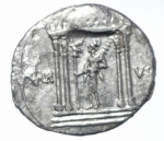 reverse: Impero Romano. Augusto. 27 a.C-14 d.C. Denario AG. D/CAESAR AVGVSTVS . Testa laureata a destra. R/ MAR VLT Marte con scettro all interno di tempio a 4 colonne .RIC 69. Peso 3.60 gr. Diametro 18,18 mm. Bel BB+___
