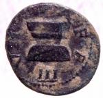 obverse: Impero Romano .Augusto. 27 a.C-14 d.C. Monetario Claudius Pulcher, Statilius Taurus und Livineius Regulus. Quadrante. D/ PVLCHER TAVRVS REGVLVS / S – C cornucopia. R/ III – VIR – A A A – F F Altare decorato con ghirlande a forma d incudine. BMC 41,207; RIC² 75,425; C.415. Peso gr. 3,06. Diametro mm. 17,68. BB. Patina deserto su verde.w