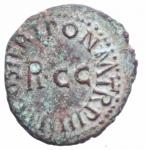 reverse: Impero Romano. Caligola. 37-41 d.C. Quadrante. D/ PON M TR P IIII COS QVAT Nel campo RCC. R/ C CAESAR DIVI AVGPRON AVG Pileo tra SC. Peso 2,55 g. Diametro 19,63 mm. qSPL. Patina Verde
