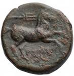 reverse: Mondo Greco - Apulia. Salapia. ca. 225-210 a.C.AE 21,4 mm. D/ Testa di Apollo a destra R/ Cavallo a destra, sopra tridente. HN (Italy) 692. Peso 7,15 gr. Diametro 21,5 mm.qBB.