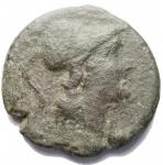 D/ Mondo Greco - Apulia. Teate. 225-200 a.C.Quincunx. Ae. D/ Testa elmata di Atena a ds R/ Civetta. SNG ANS 1226.Peso gr. 14.88. Diametro mm. 27.59.BB.Patina verde. R