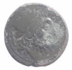 obverse: Mondo Greco. Bruttium. I Brettii. 215-205 a.C. Oncia ridotta. D/ Testa di Zeus a destra. R/ Guerriero che avanza a destra, ai suoi bucranio. SNG ANS 106. Peso 7,04 gr. Diametro 21,30 mm. BB. Patina .#