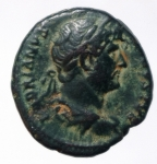 obverse: Impero Romano. Adriano. 117-138 d.C. Quadrante. D/ HADRIANVS AVGVSTVS Busto verso destra. R/ COS III lira tra SC. RIC.688. Peso 4,95 gr. Diametro 20,93 mm. BB+. RR.___
